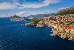 Aerial view of old city Dubrovnik in a beautiful summer day, Croatia. September 2020