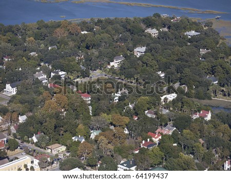aerial view of old colonial town in south carolina