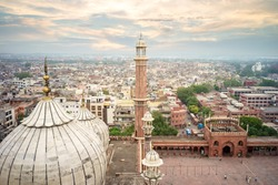 aerial view of old delhi from roof of jama masjid