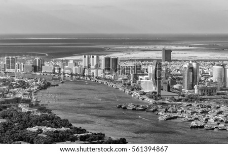 aerial view of old dubai  the...