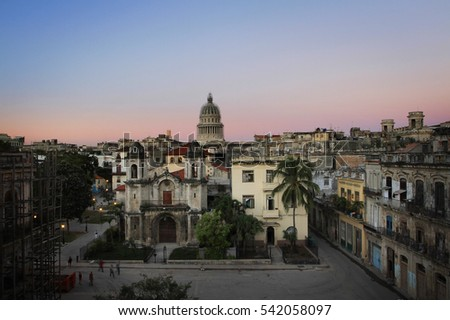 aerial view of old havana and...