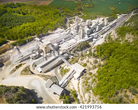 Aerial view of old lime works. Biggest Czech limestone quarry Devil's Stairs - Certovy Schody. Aerial view of industrial landscape after mining. Industry and environment in Czech Republic, Europe.  Zdjęcia stock ©