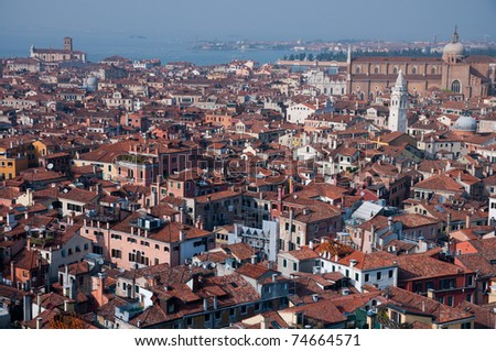 Aerial view of old roof tops  in venice