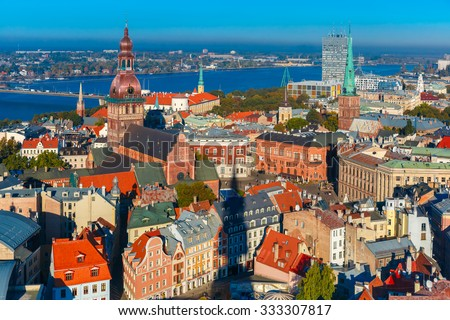 Aerial view of Old Town and River Daugava from Saint Peter church, with Riga Cathedral, Cathedral Basilica of Saint James and Riga castle, Riga, Latvia