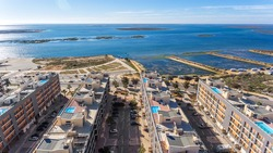 Aerial view of Olhao, Algarve, Portugal. Ria Formosa