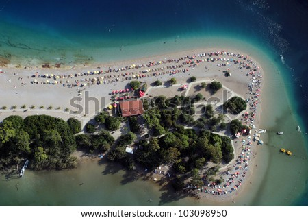 Aerial view of Oludeniz lagoon from Paragliding, Fethiye, Turkey