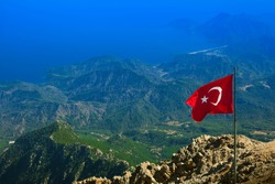 Aerial view of Olympos ( Kumluca district of Antalya Province, Turkey ) and mountain range of Central Taurus from top of Tahtali