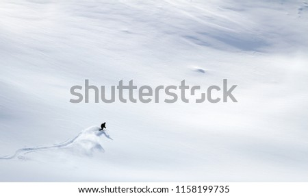 Aerial view of one skier off-piste skiing a bright white untouched vast powder snow field in Norway