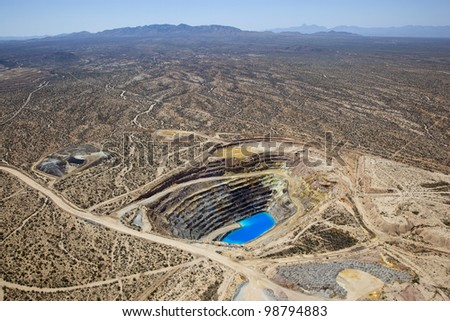 Aerial view of Open Pit Copper Mine near Green Valley, Arizona
