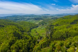 Aerial view of Owl Mountains, Poland, Lower Silesia.