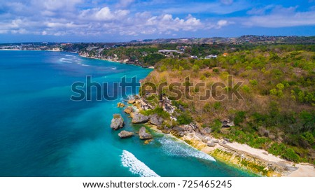 Aerial view of Padang - Padang beach. Bali, Indonesia.