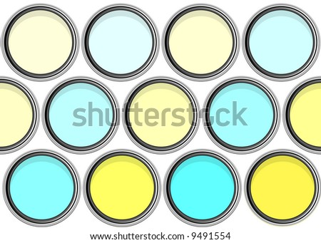 aerial view of paintpots with yellow and blue tints