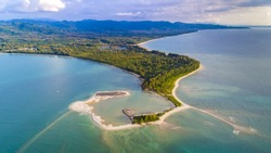 Aerial View of Pak Weep Beach and Coconut Beach of Khao Lak, Thailand