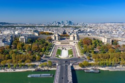Aerial view of Palais de Chaillot, Seine river, and the skyline of Paris city from Eiffel Tower, Paris, France, Europe