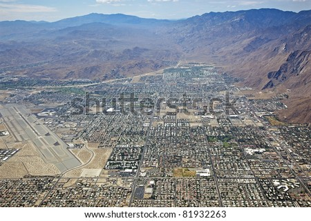 Aerial view of Palm Springs, California - stock photo