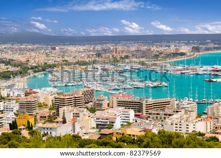 Aerial view of Palma de Mallorca in Majorca Balearic islands Spain [Photo Illustration]