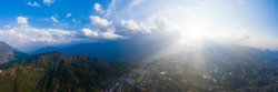 Aerial view of panorama landscape at the hill town in Sapa city, Lao Cai Province, Vietnam in Asia with the sunny light and sunset, mountain view in the clouds