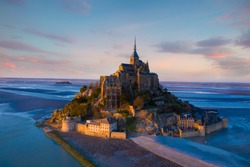 Aerial view of Panoramic view with sunset sky scene at Mont-Saint-Michel, Normandy, France