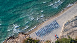 Aerial view of Paradise beach. Thassos Island, Greece