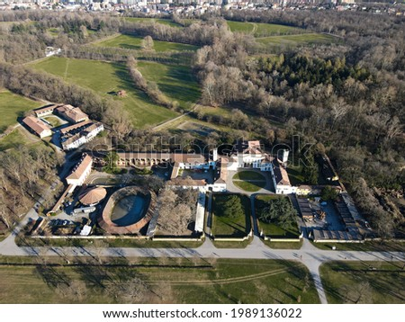 Aerial view of Parco di Monza, biggest park in Europe, near Milan, north Italy. Drone photography in Lombardia, italian park with lot of attractions, near Villa Reale of Monza. Foto d'archivio ©