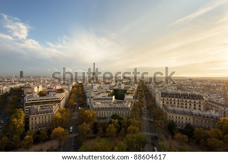 Aerial view of Paris and Eiffel Tower at sunset