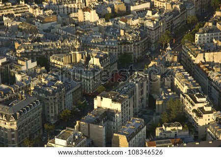 Aerial view of Paris architecture from the Montparnasse Tower