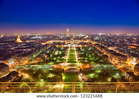 Aerial view of Paris at night. France.