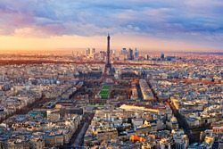 Aerial view of Paris at sunset