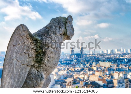 Aerial view of Paris City from the top of Notre Dame Cathedral with stone demon gargoyle. #1215114385