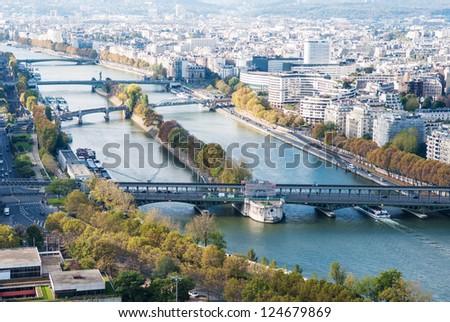 Aerial view of Paris from Eiffel tower. Seine river. Autumn.