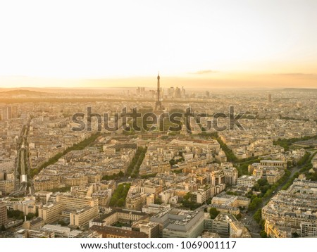 aerial view of paris with the...