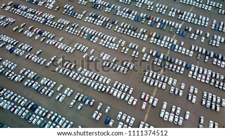 Aerial view of parked cars/vehicles (imported)