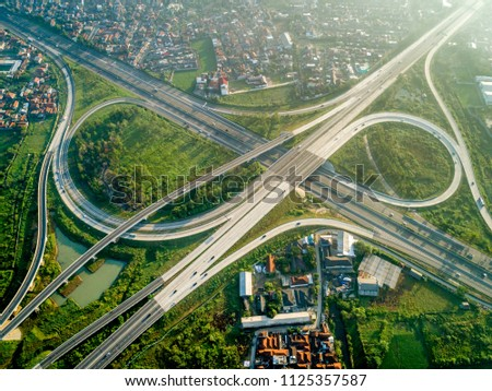 Aerial View of Pasir Koja Highway Interchange, Soroja and Purbaleunyi Toll Road, Bandung, West Java Indonesia, Asia
