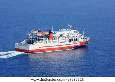 Aerial view of passenger ferry boat in open waters in Greece