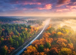 Aerial view of passenger train and beautiful forest in fog at sunset. Autumn landscape with railroad, moving train, foggy trees and colorful sky with clouds in fall. Top view of railway station