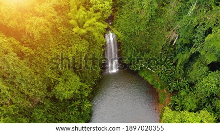 Aerial view of Pasy or Pa Sy waterfalls in Mang Den, Kon Tum province, Vietnam. Nature and travel concept. Stock fotó ©