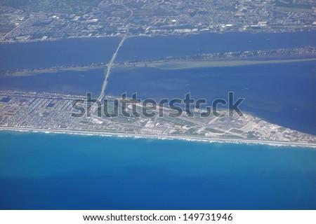 Aerial view of Patrick Air Force Base airport, near Cocoa Beach, Florida