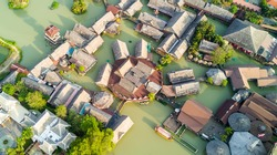 Aerial view of Pattaya Floating market