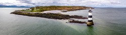 Aerial view of Penmon point lighthouse on Anglesey , Wales - United Kingdom