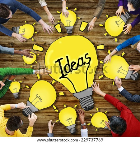 Aerial View of People and Ideas Concepts