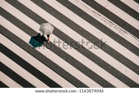 Aerial view of people crossing a big intersection in Tokyo, Japan . Street photo, umbrella have one leg