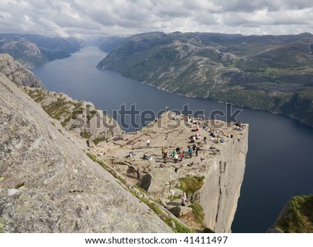 aerial view of people on Pulpit rock, Lysefjord, Norway