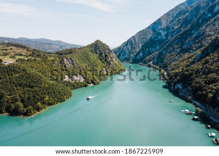 Aerial view of Perucac lake on Drina river Stock photo ©