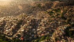 Aerial view of Petare Slum, in Caracas, Venezuela, during a sunset