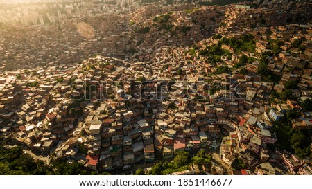 Aerial view of Petare Slum, in Caracas, Venezuela, during a sunset  Stockfoto ©