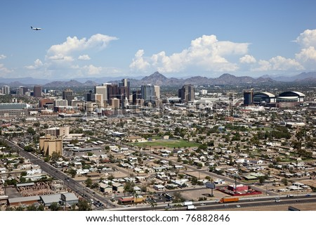Aerial view of Phoenix, Arizona Skyline