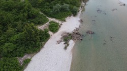 Aerial view of piave river, significant ww1 and ww2 place.