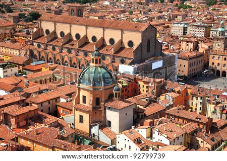 Aerial view of Piazza Maggiore and Basilica San Petrino from top of Asinelli tower, Bologna, Italy