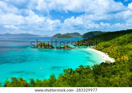 Aerial view of picturesque Trunk bay on St John island, US Virgin Islands considered by many as most beautiful beach in Caribbean