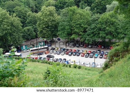 Aerial view of picturesquely situated parking lot for motorized tourists